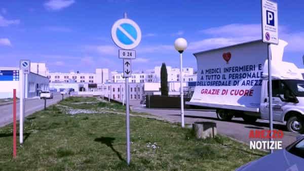 """""""Grazie di cuore"""", la vela dedicata al personale al lavoro all'ospedale San Donato"""