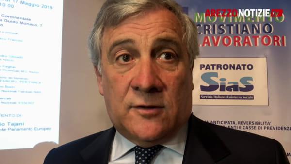 """Tajani ad Arezzo: """"Le Europee daranno un avviso di sfratto al Governo"""". Il messaggio mentre il Premier Conte è a Rondine"""